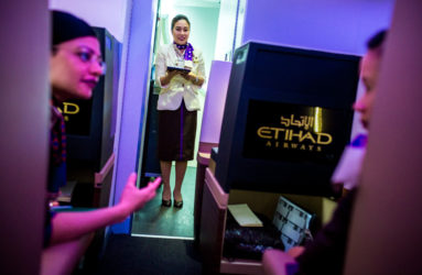 Cabin crews are learning the skills at the Etihad training academy. The flying staff hails from over 115 different countries.