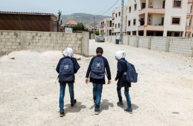 Kids are walking to the Saadnayel School for the afternoon class. The school is open 5-days/week for an 8-month school year, with 12-weeks summer programs.