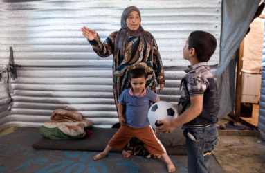 Khatour, 32, mother of 4, is originally from Raqqa. She has been in Lebanon for 3 and a half years now. Her husband Ahmed works as a laborer whenever he finds the opportunity. They live next to the Saadnayel school. Settlements in close promixity of the school, tend to keep attendance rates high.