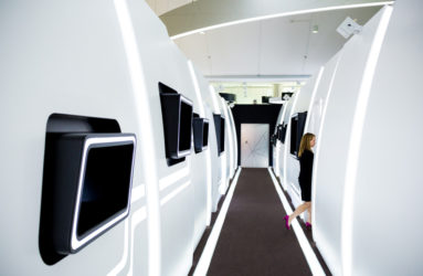 A mock-up of the aircraft cabins, located at the innovation center.