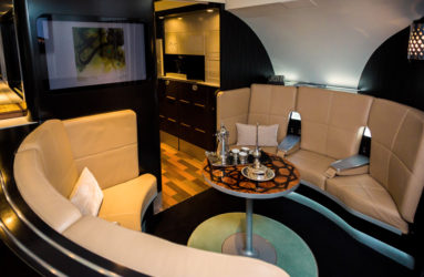 A luxurious lobby is available in the upper deck of the new A380. Etihad Airways is greatly inspired and influenced by the high hospitality industry standards.