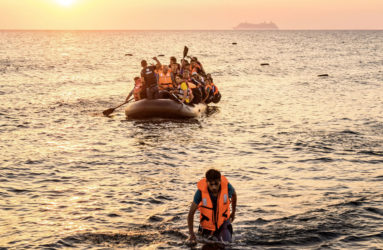 Approximately 50 Syrian refugees are aboard a rubber dinghy, seeking a safe place to land in Greece. The 3-4 hours trip from Bodrum is made overnight to avoid detection by the coast guards.