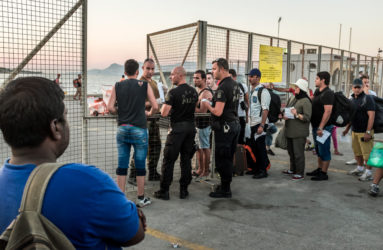 The police are enforcing strict control on regulation papers, which determines those of who are entitled to board the ferry to Piraeus, near Athens. Most refugees are on their way to the Western and Northern wealthier European countries.