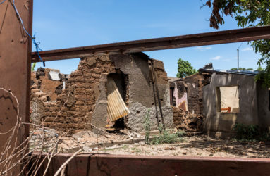 A house has been taken down by a rocket in Mutakura, North of Bujumbura, on July 1, 2015. Six people perished in the attack.